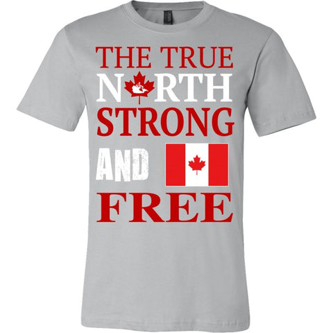 Canada The True North Strong And Free T-Shirts Canvas Mens Shirt / Silver S