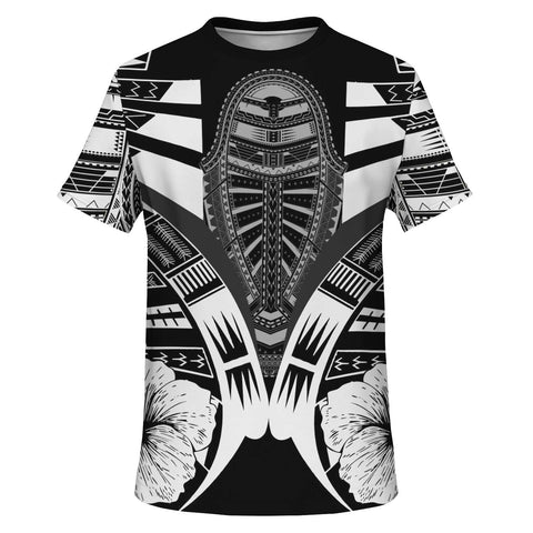 Image of Polynesian Tattoo T Shirt Hibiscus Black White - Front