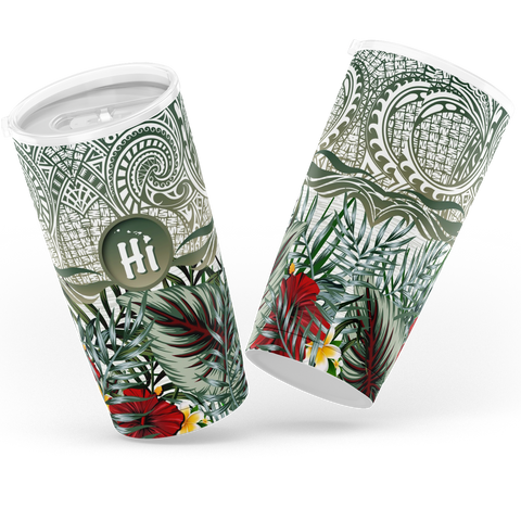 Kanaka Maoli (Hawaiian) Tumbler, Map Polynesian Palm Leaves Hibiscus Plumeria Flowers | Love The World