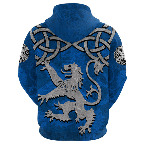Scottish Lion Celtic Knot Zip Hoodie back | Clothing | Love Scotland
