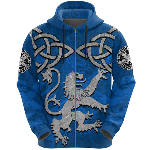 Scottish Lion Celtic Knot Zip Hoodie front | Love Scotland | Clothing