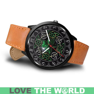 Celtic Shamrock Leather/Steel Watch A4