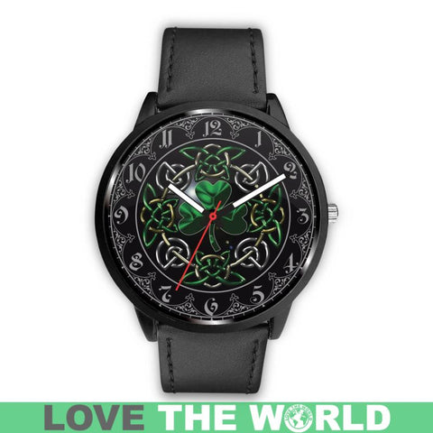 Celtic Shamrock Leather And Steel Watch A4 |Men and Women| 1sttheworld