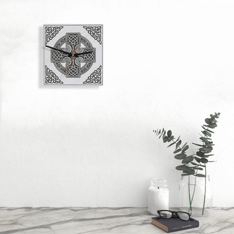 Image of celtic cross, celtic clock, wooden wall clock, 1sttheworld, online shopping, home decor
