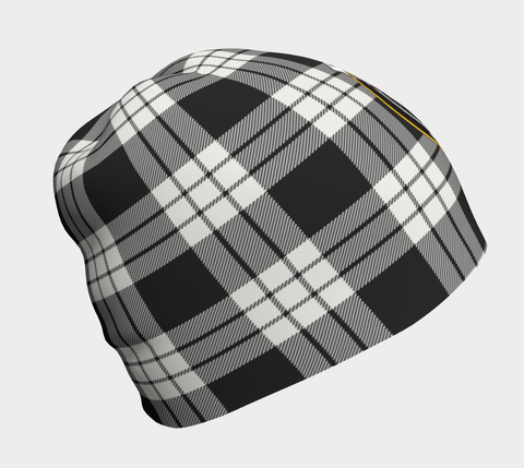 MacFarlane Black & White Ancient Tartan Clan Crest Beanie