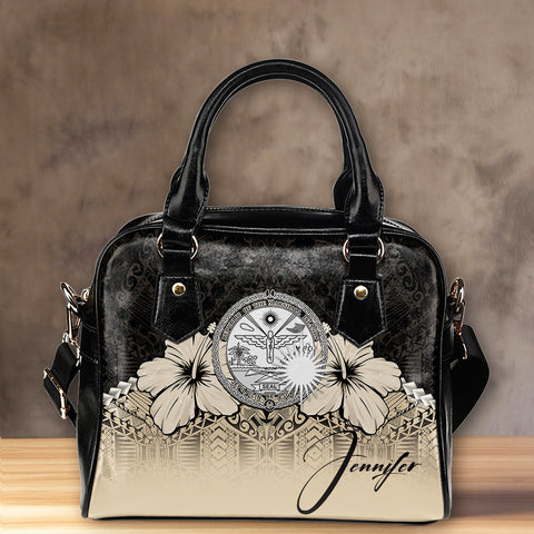 (Custom) Marshall Islands  Shoulder Handbag Hibiscus Personal Signature A024