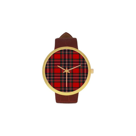 Clan Macfarlane Tartan Watch Th1 One Size / Golden Leather Strap Watch Luxury Watches