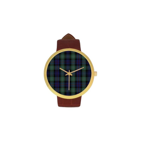 Clan Mackenzie Tartan Watch Th1 One Size / Golden Leather Strap Watch Luxury Watches