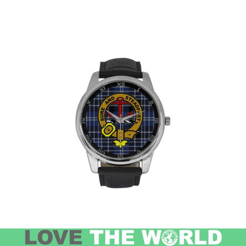 Clark Tartan Clan Badge Watch Ha9 One Size / Golden Leather Strap Watch Luxury Watches