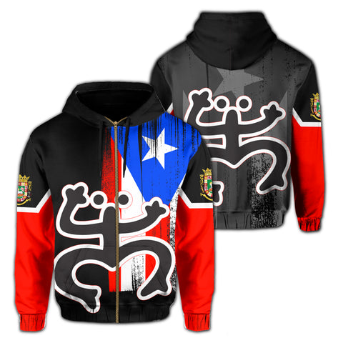 Image of Puerto Rico Coqui Flag Hoodie (Zip-up)