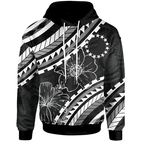 Cook Islands Hoodie - Palm Leaf Texture Black - BN20
