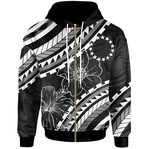 Cook Islands Zip Hoodie - Palm Leaf Texture Black - BN20