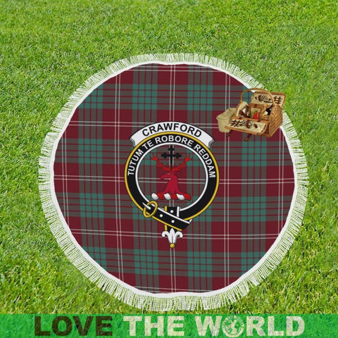 Image of Crawford Modern Clan Badge Tartan Circular Shawl C11 Shawls