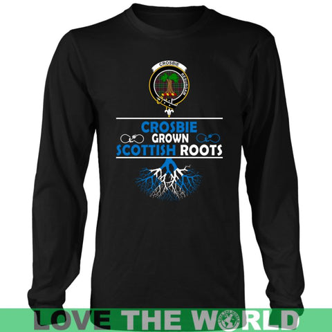 Image of Crosbie Tartan Scottish Roots T-Shirt Nl25 Gildan Mens T-Shirt / Black S T-Shirts