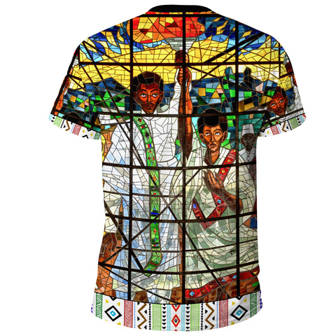 Image of Custom Ethiopia T-Shirt, Ethiopian Orthodox Flag No Coat Of Arms A10