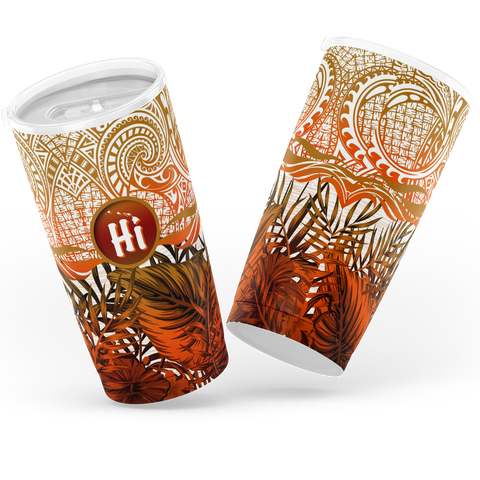 Kanaka Maoli (Hawaiian) Tumbler, Map Polynesian Palm Leaves Hibiscus Plumeria Flowers (Orange) | Love The World