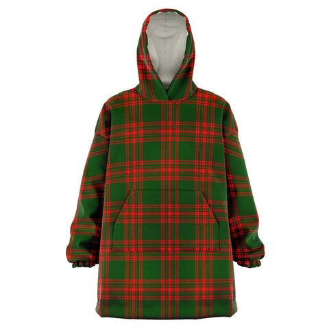 Image of Menzies Green Modern Snug Hoodie - Unisex Tartan Plaid Front