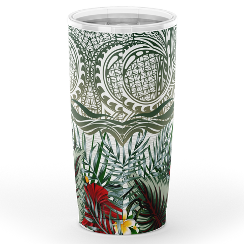 Image of Kanaka Maoli (Hawaiian) Tumbler, Map Polynesian Palm Leaves Hibiscus Plumeria Flowers | Love The World