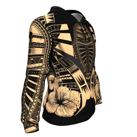 Image of Polynesian Tattoo Hoodie Hibiscus Gold K9