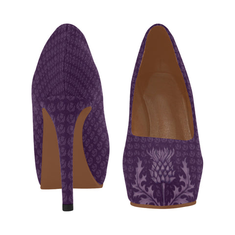 Image of Scotland High Heel Pumps - Purple Thistle A9