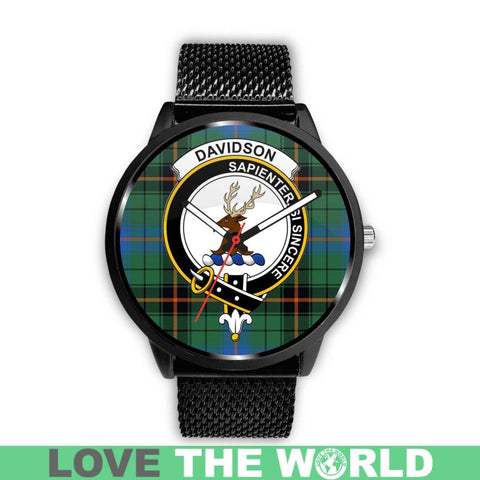 Davidson Ancient Clan Badge Tartan Leather/steel Watch - NN5 Mens 40Mm / Brown Leather-Steel Watches
