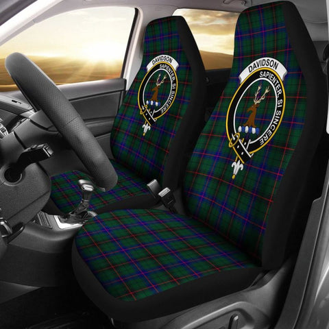 Image of Davidson Tartan Car Seat Cover - Clan Badge