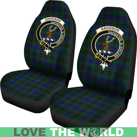 Image of Davidson Clan Badges Tartan Car Seat Cover Ha5