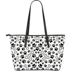 DOG PAWS LARGE LEATHER TOTE
