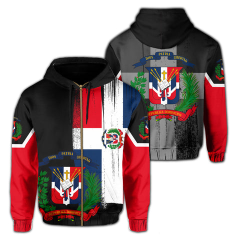 Dominica Flag Coat Of Arm Hoodie (Zip-up)