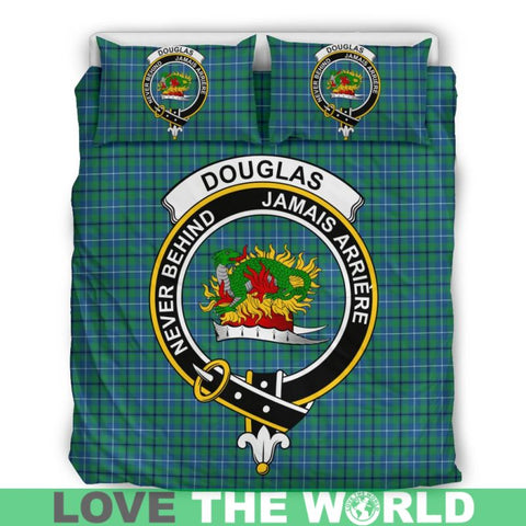 Douglas Ancient Tartan Clan Badge Bedding Set Th1 Bedding Set - Black Black / Queen/full Sets