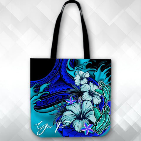 Image of (Custom)Tote Bag Wave Polynesian Turtle Hibiscus A24