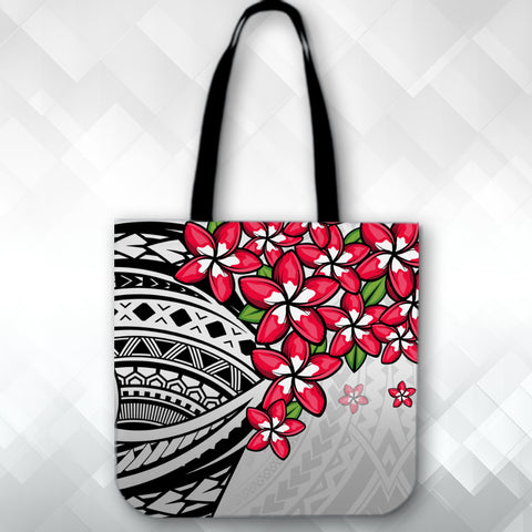 Image of (Custom) Polynesian Plumeria Gray Tote Bag Personal Signature A24