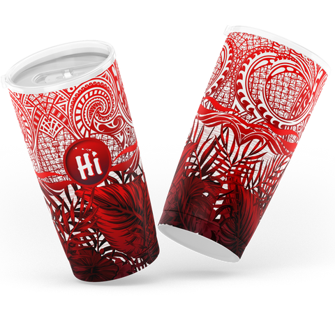 Kanaka Maoli (Hawaiian) Tumbler, Map Polynesian Palm Leaves Hibiscus Plumeria Flowers (Red) | Love The World