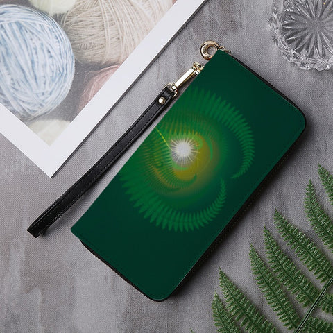 Image of New Zealand Wallet - Silver Fern PU Leather Wallet around Long Clutch Purse - new zealand wallet, wallet, silver fern, fern wallet, accessories, online shoping