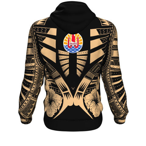 French Polynesia Tattoo Hoodie Hibiscus - Gold Color - Back