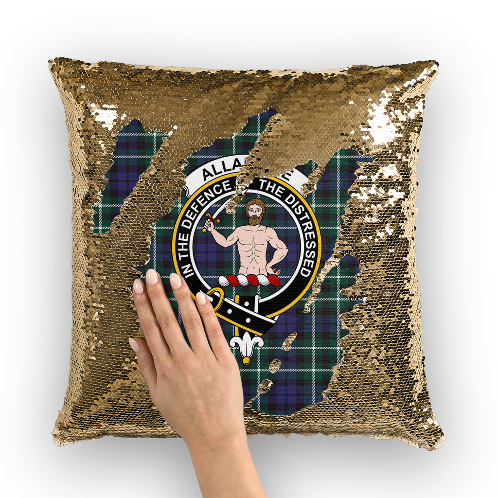 Allardice Clan Tartan Pillow Cover - Sequin Cushion Cover K3