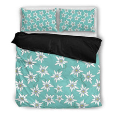 Edelweiss Flower Pattern Bedding Set Hm1 Bedding Set - Black Black / Twin Sets