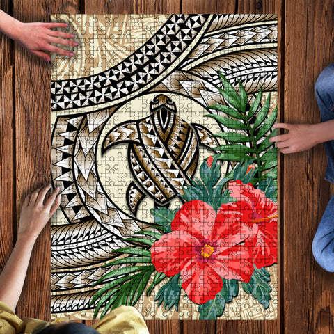 Kanaka Maoli (Hawaiian) Wood Puzzle - Polynesian Turtle Hibiscus Beige | Love The World