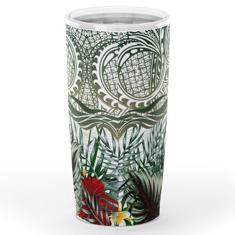 Kanaka Maoli (Hawaiian) Tumbler, Polynesian Palm Leaves Hibiscus Plumeria Flowers | Love The World