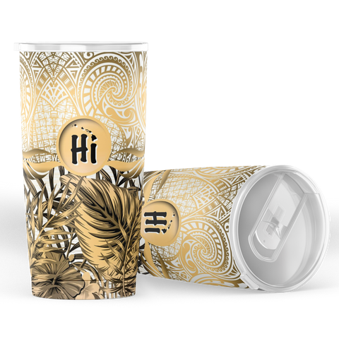 Kanaka Maoli (Hawaiian) Tumbler, Map Polynesian Palm Leaves Hibiscus Plumeria Flowers (Moccasin) | Love The World