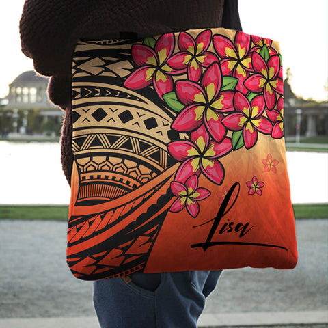 (Custom) Polynesian Plumeria Red Tote Bag Personal Signature A24