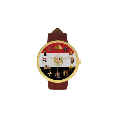 Egypt Mysterious Symbols Luxury Watch Th7 One Size / Mystic Womens Golden Leather Strap Watch(Model