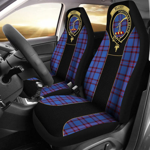 Elliot Modern Tartan Car Seat Cover - Golden Clan Badge