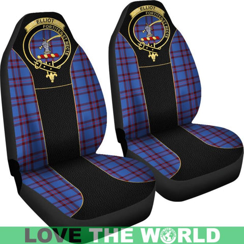 Elliot Modern Tartan Clan Badge Golden Car Seat Covers Dm1
