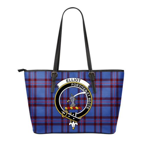 Elliot Modern Tartan Clan Badge Small Leather Tote Bag C20 Totes
