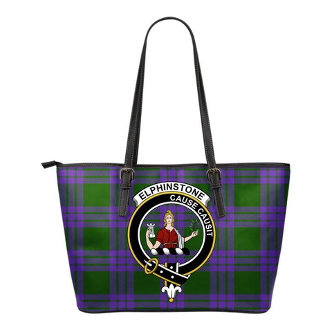 Elphinstone Tartan Clan Badge Small Leather Tote Bag C20 Totes