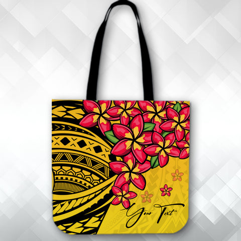 Image of (Custom) Polynesian Plumeria Yellow Tote Bag Personal Signature A24