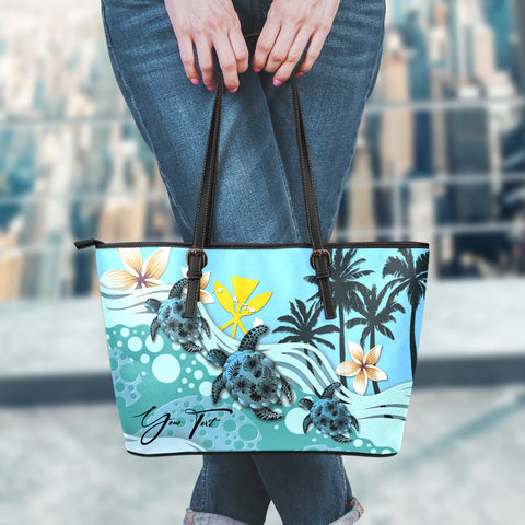 (Custom) Hawaii Large Leather Tote - Blue Turtle Hibiscus Personal Signature A24