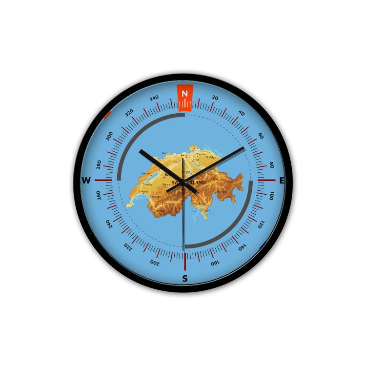 Switzerland Wall Clock - Physical Map K3