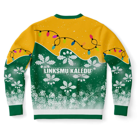 Lithuania Christmas Sweatshirt Oak Leaves - Lietuva Back | 1sttheworld